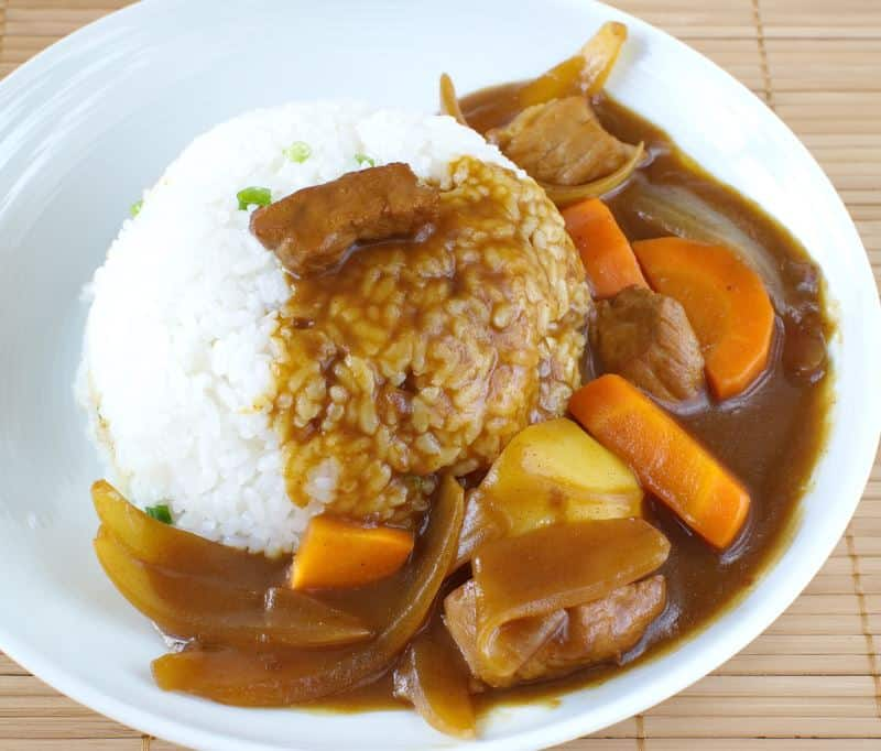 Japanese curry with rice carrots and onions