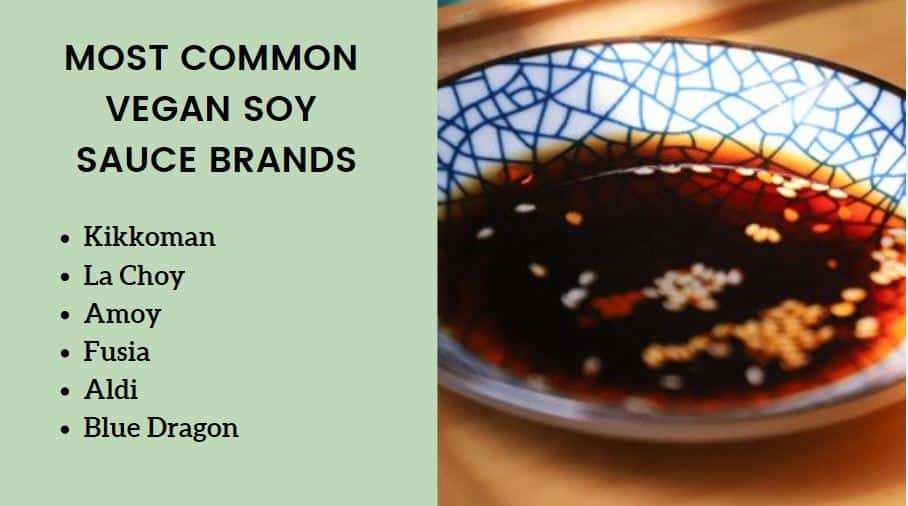 most common vegan soy sauce brand list kikkoman la choy aldi amoy fusia blue dragon