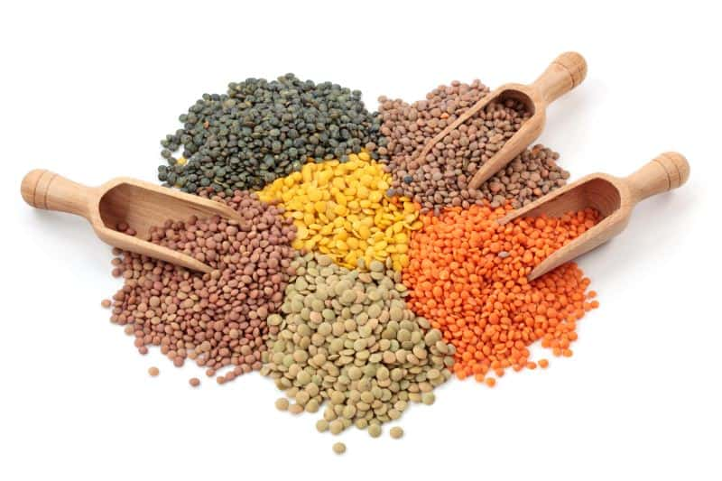 Groups of colorful lentils in several different varieties with wooden scoops against a white background.