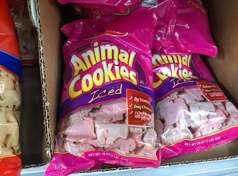 bag of stauffers iced animal crackers on shelf