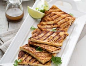 grilled tofu on a plate
