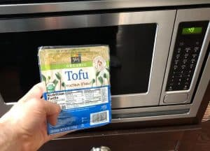 tofu about to go in the microwave