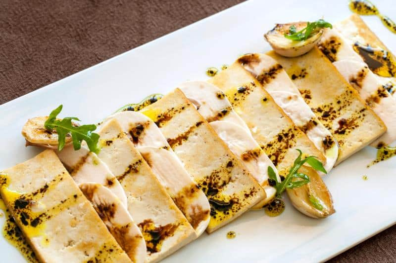 tofu on a plate with balsamic