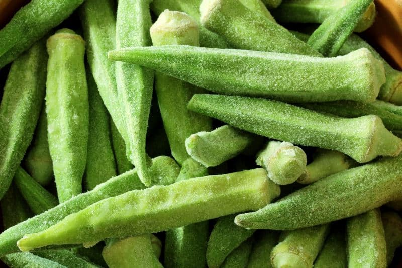 Close-up of okra pods frozen