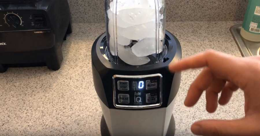 getting ready to crush ice in a blender
