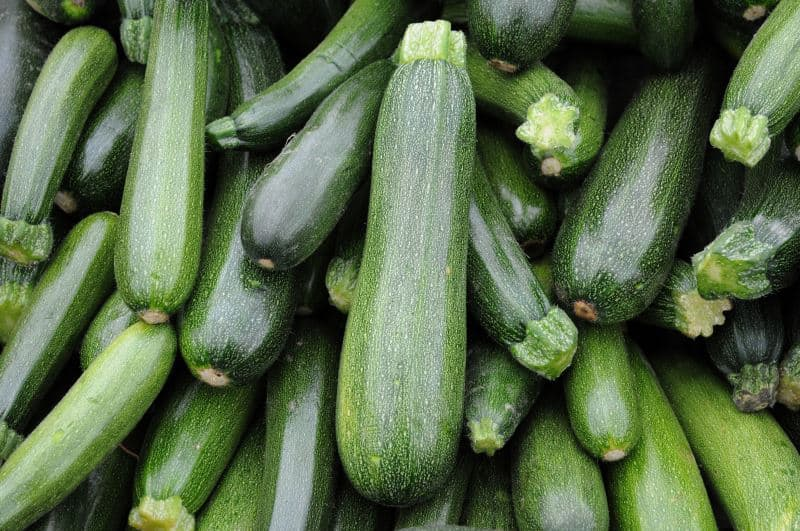 Whole zucchini for sale at a market