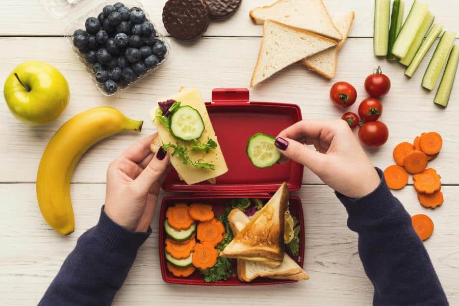 eating from a lunch box that locks