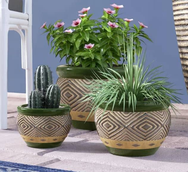 Adamsdale 3 Piece Ceramic Pot Planter set
