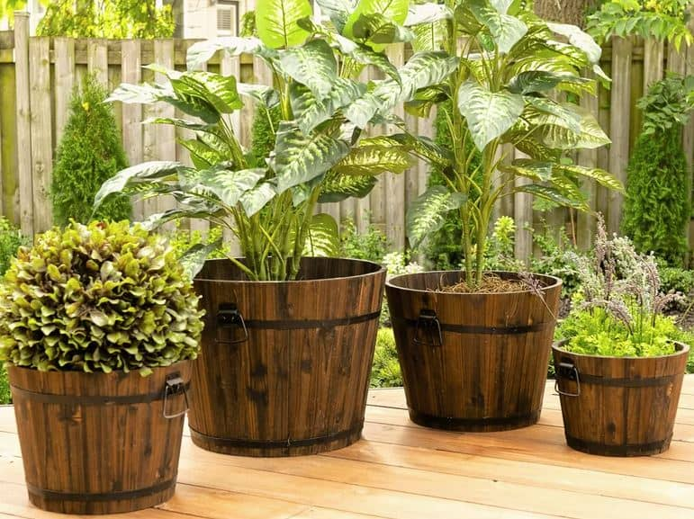 Barrel Style Cypress Planter Box Set