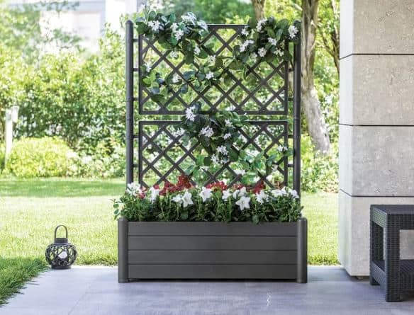 Encanto Plastic Planter Box with Trellis