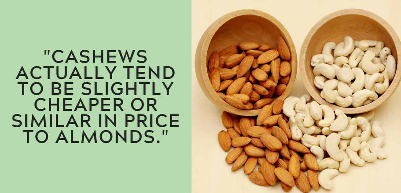 """""""cashews actually tend to be slightly cheaper or similar in price to almonds."""""""