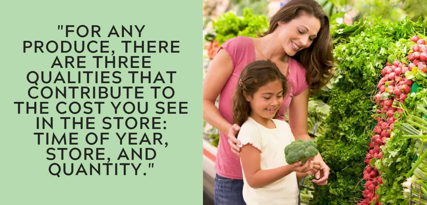 """""""For any produce, there are three qualities that contribute to the cost you see in the store: time of year, store, and quantity."""""""