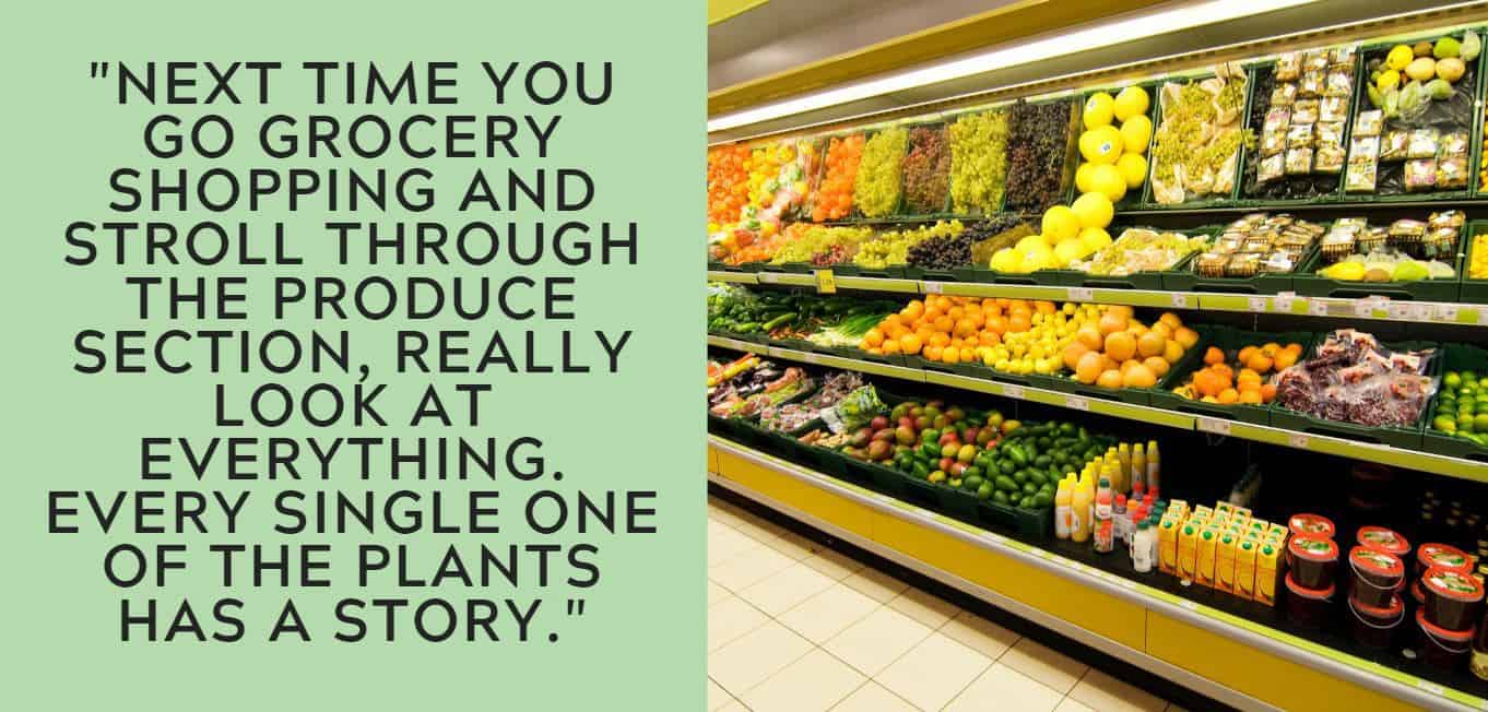 """Next time you go grocery shopping and stroll through the produce section, really look at everything. Every single one of the plants has a story."""