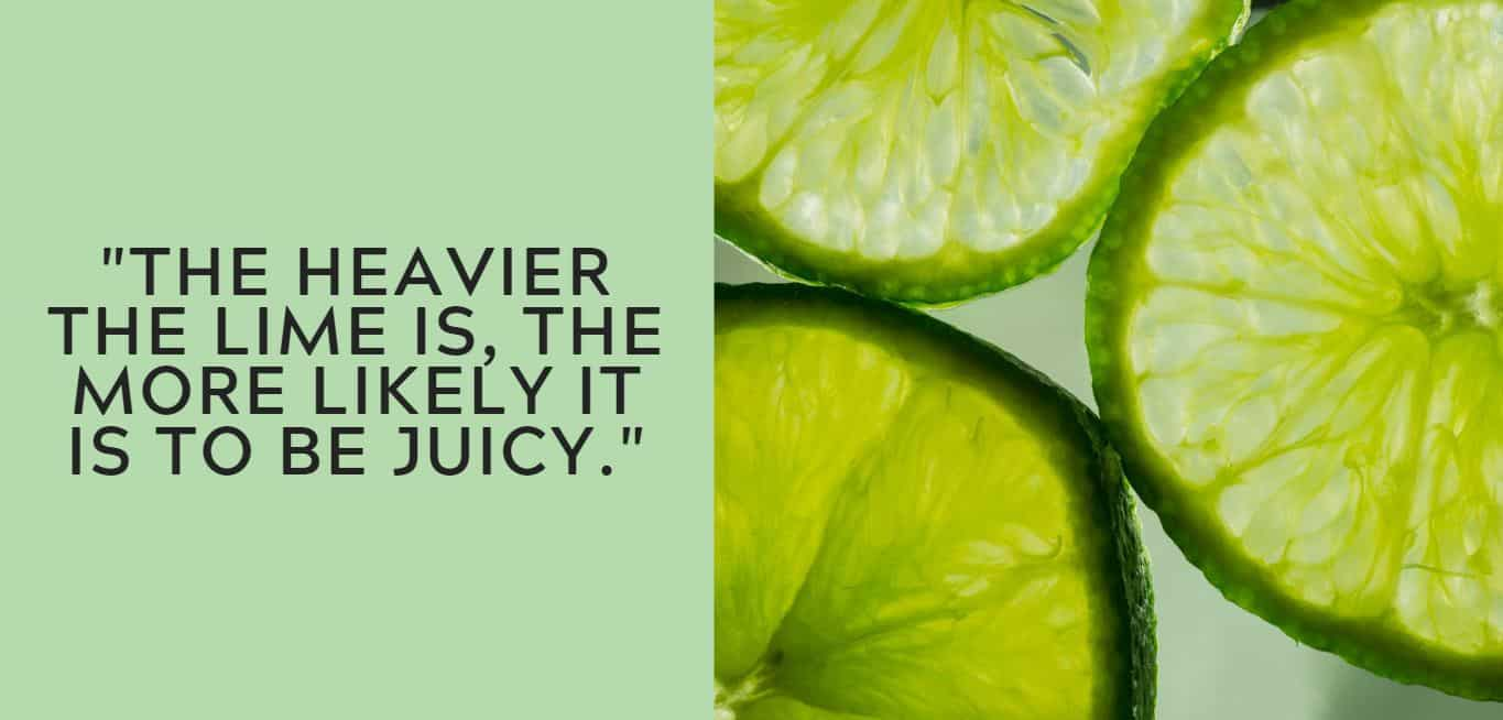 """The heavier the lime is, the more likely it is to be juicy."""