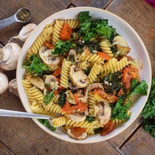 One Pot Kale and Mushroom Fusilli Pasta 10