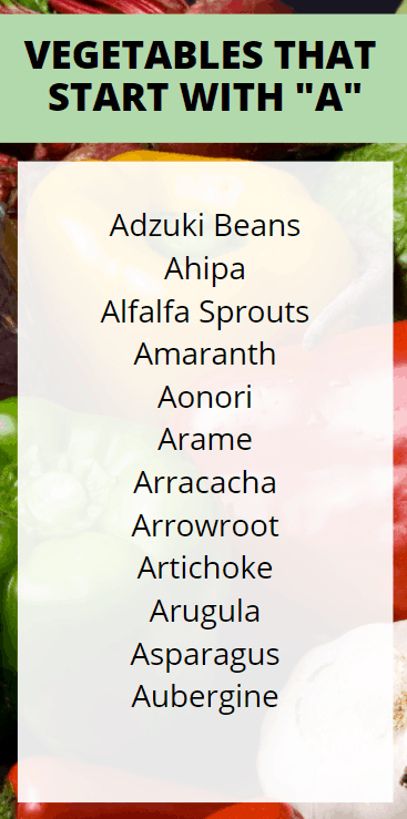 Vegetables that Start with A