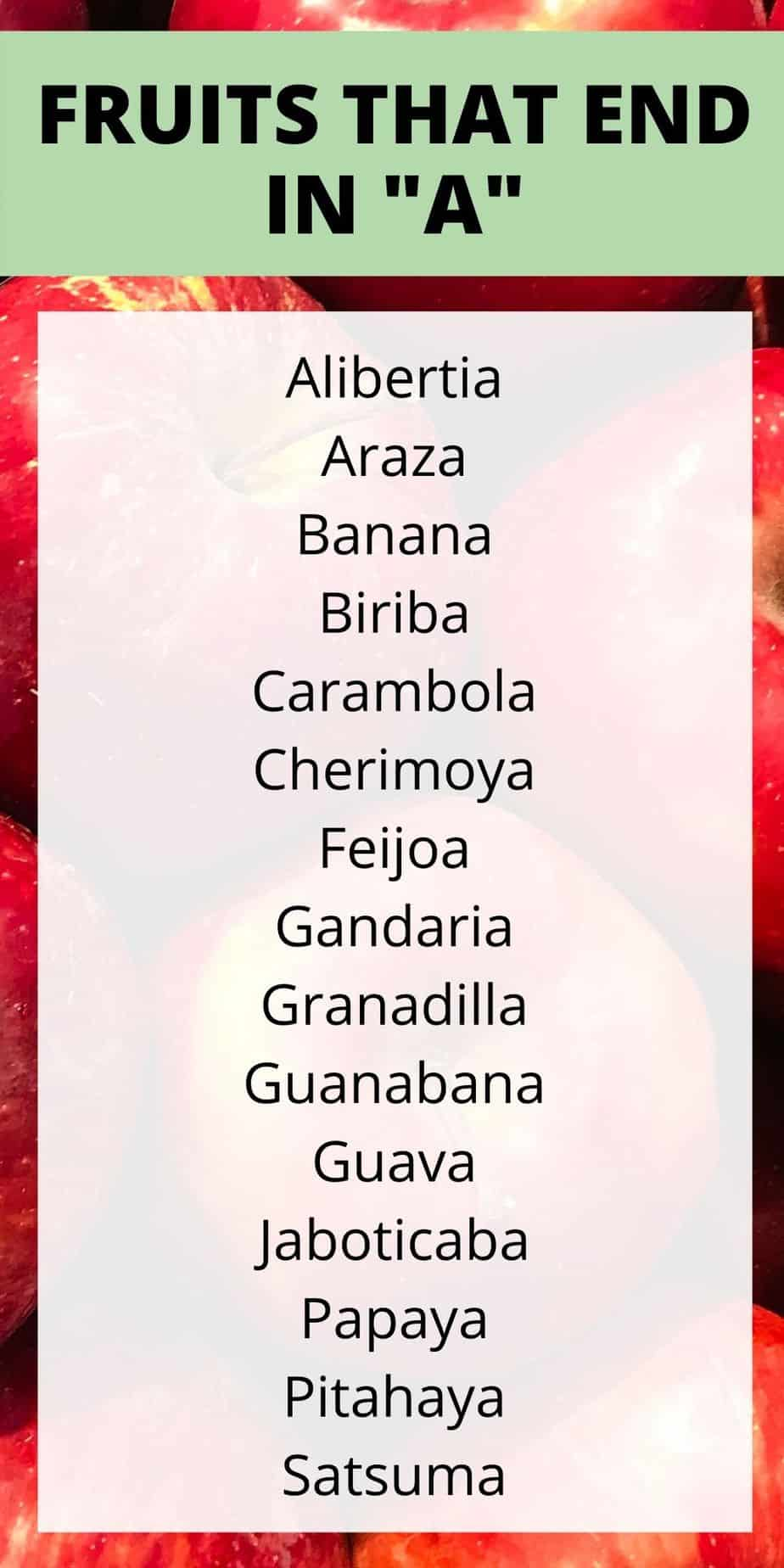 fruits that end with a