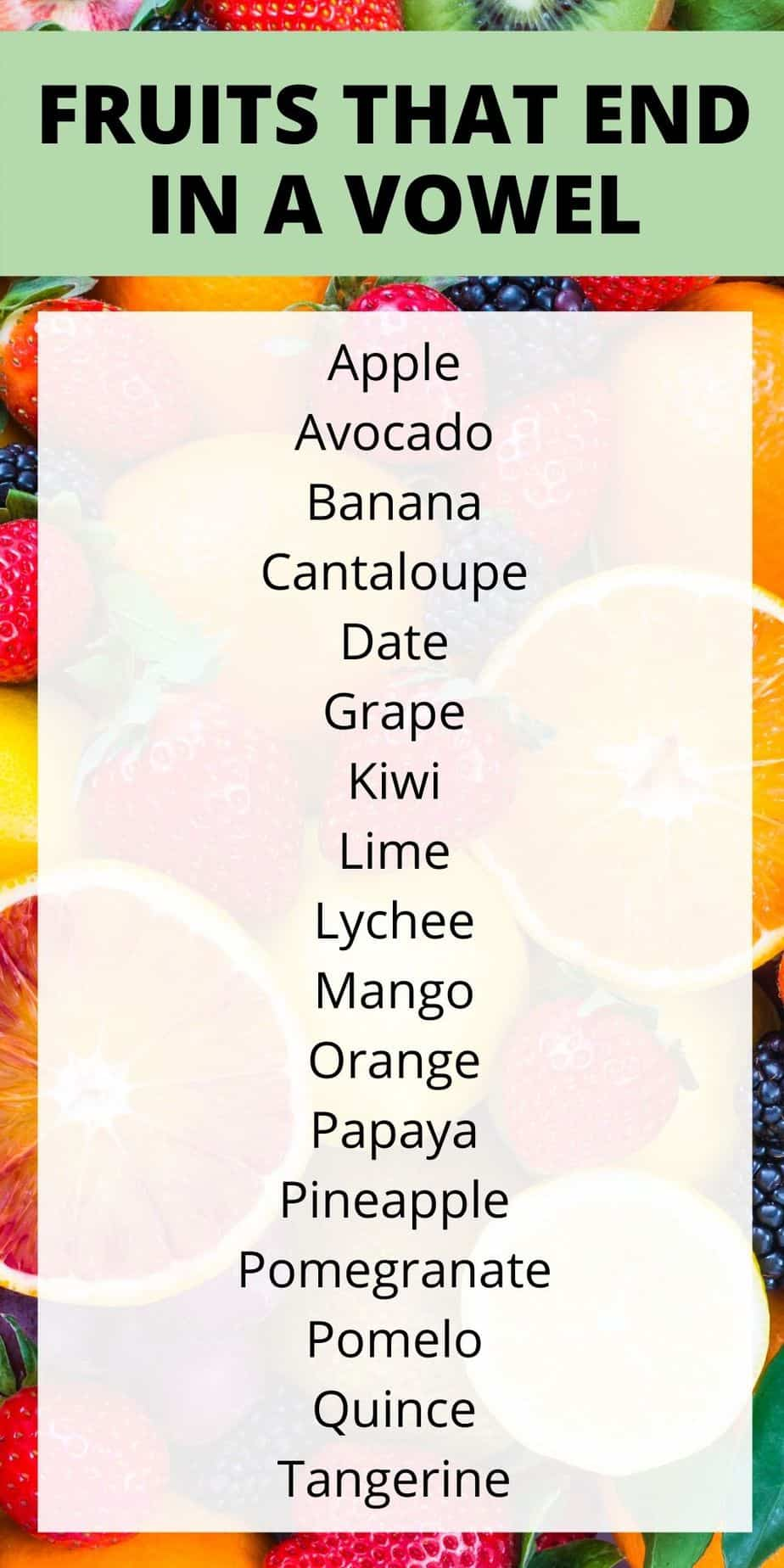 fruits that end in a vowel