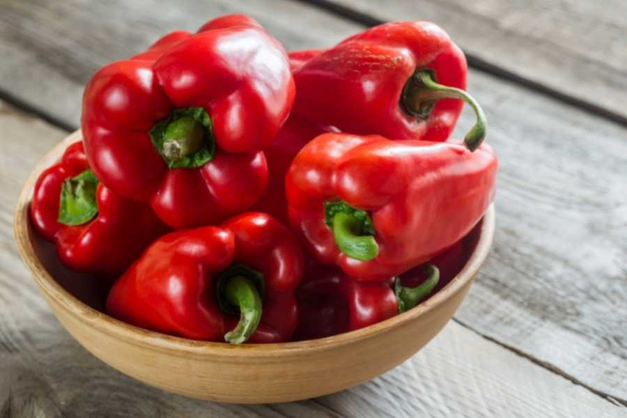 Bell peppers on bowl