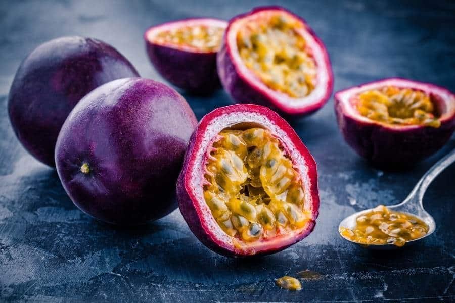 Passionfruit cut open