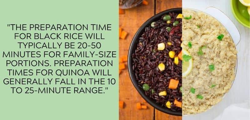 black rice vs quinoa preparation time