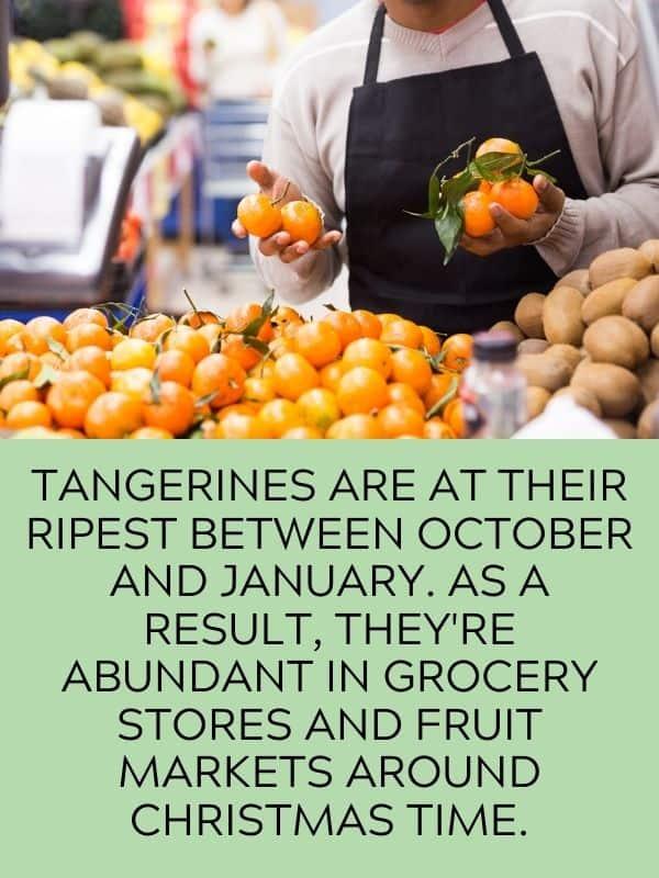 tangerines in supermarket